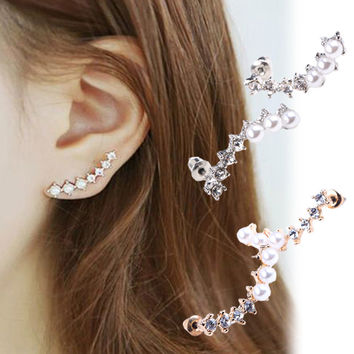 Women Fashion Silver Crystal Rhinestone Earrings Ear Hook Stud Jewelry