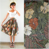 1950 Vintage Skirt/ Aloha Hibiscus Skirt/ XS Skirt/ Summer Skirt/ Tropical Skirt/ Brown Skirt/ Floral Skirt/ Japanese Vintage/ Midi Skirt