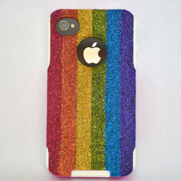 iPhone 4/4s Rainbow glitter Otterbox Case,  Custom  Glitter Rainbow/White Otterbox Color Combination, iPhone 4 or 4s cover case