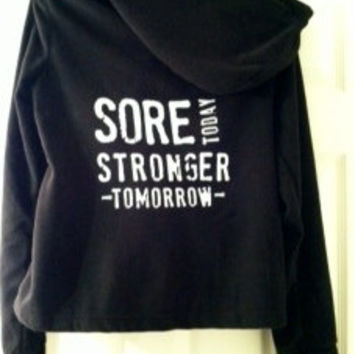 Ladies Black Danskin Jacket, Sore Today Stronger Tomorrow, Small