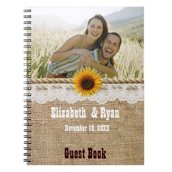 Rustic, Burlap and Sunflower Wedding Guest Sign In Notebook
