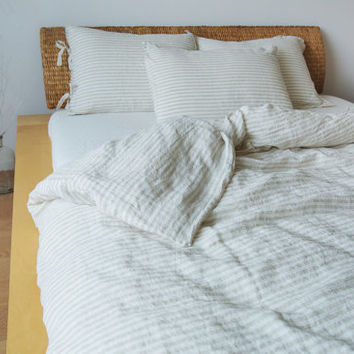 Striped linen duvet cover. Off white and natural linen. Stone washed linen bedding. Linen quilt cover. Pinstriped duvet cover. Doona cover.