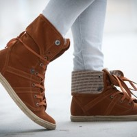DeBlossom Cassey-21 Sweater Knit Foldover Sneaker (Tan) - Shoes 4 U Las Vegas
