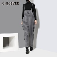 Striped High Waist Trousers For Women Overalls Pant Black Striped Loose Winter Ankle Length Female Pants