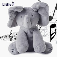 Little J Peek A Boo Elephant Stuffed Animals Plush Toy Electronic Sing Song Play Hide And Seek Elephant Baby Kids Soft Doll