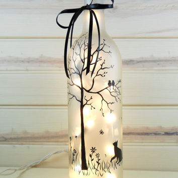 Cat Lighted Wine Bottle Frosted Hand Painted 750ml