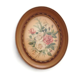 Homco Oval Framed Picture Rose Bouquet Home Interiors