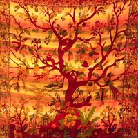 Tree of Life Tapestry Lines Orange  - Mellow Mood
