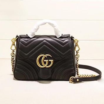 GUCCI Fashion New Leather Shoulder Bag Shopping Leisure Women Black