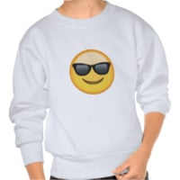 Smiling Face With Sunglasses Emoji Pull Over Sweatshirt