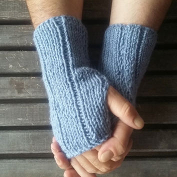 Men Gloves,Knitted Glove,Air Superiority Blue,Handmade,Men's Fashion,Glove Crochet,Hand Warmer,Short Knitted Gloves,Winter Gloves,Gift Ideas