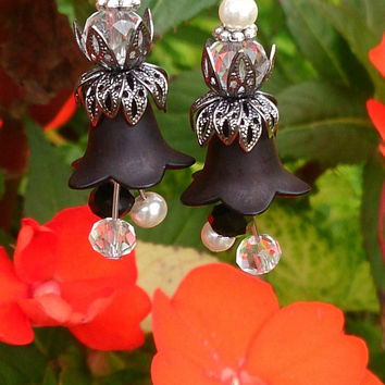Flower Assemblage Earrings | Dangle Flower Earrings | Black Flower Earrings | Pearls and Crystals | Romantic Earrings | Tulip Flower Earring