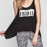 Full Tilt Friday Womens Sharkbite Tank Black  In Sizes