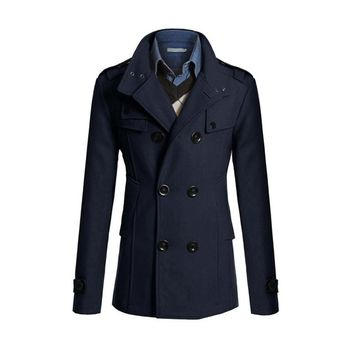 Casual  Woolen Pea Coat Double Breasted