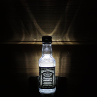 Upcycled Mini Jack Daniels Bottle Night Light, LED Night Light, Upcycled Liquor Bottle
