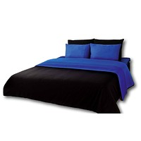 Tache 6 Piece Deep Blue and Black Reversible Comforter Set (CS6PC-DB)