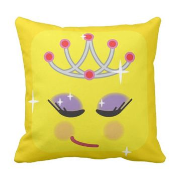 Sparkly Princess Emoticon Throw Pillow