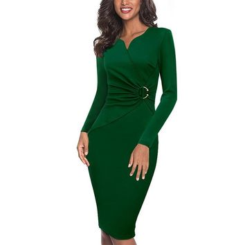 Vfemage Women Elegant Notch V Neck Ruched Embellished Waist Work Office Business Cocktail Party Bodycon Pencil Sheath Dress 007