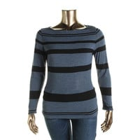 INC Womens Striped 3/4 Sleeves Pullover Top