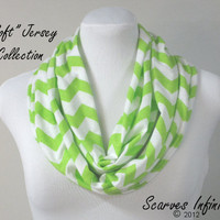 SOFT Chevron Infinity Scarf in Lime Green Zig Zag Jersey -  Modern Knit Circle Scarves by Scarves Infinity