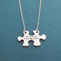 You are my missing piece, Silver, Necklace, Love, Puzzle, Jewelry, Birthday, Lovers, Best friends, Valentine, Gift, Jewelry