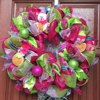 Deco Mesh Christmas Wreath, Pink Lime Green Deco Mesh Wreath, holiday wreath, Gingerbread Snowman wreath, READY TO SHIP Unique
