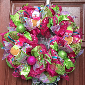 Deco Mesh Christmas Wreath - Peppermint from What's On Your Door