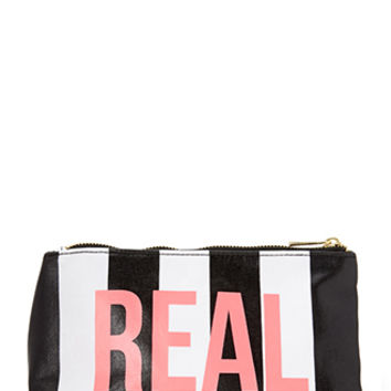 FOREVER 21 Real/Fake Makeup Bag Black/White One