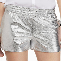 2 1/2 INCH SILVER TRACK SHORTS from EXPRESS
