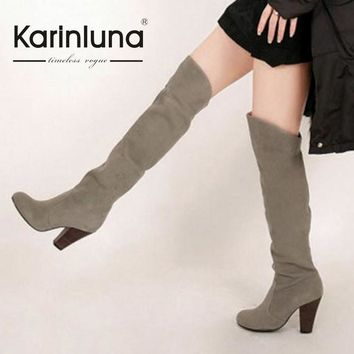 KarinLuna Big size 34-43 New Women Knee High Boots Sexy Chunky High Heels Spring Autum