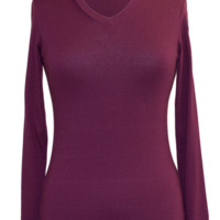 Long Sleeve V-neck Cotton Top