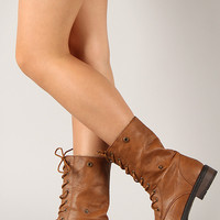 Terra-11 Tribal Cuff Round Toe Military Lace Up Boot