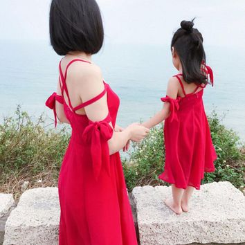 Mother daughter dresses Solid Family matching outfits Nmd Baby girl clothes Chiffon Fa