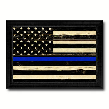 Thin Blue Line Honoring our Men and Women of Law Enforcement American Police USA Flag Vintage Canvas Print with Black Picture Frame Home Decor Wall Art Decoration Gift Ideas