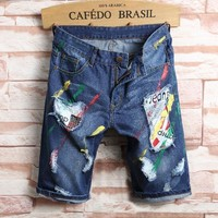 Denim Men Korean Slim Ripped Holes Pants Shorts [10699376259]