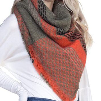 Army Green and Orange Blanket Scarf