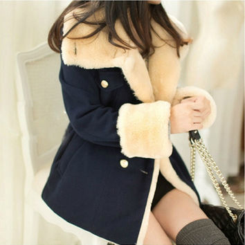 2014 new winter Korean version of women big code slim slim double breasted college wind coat jacket tide = 1932247236
