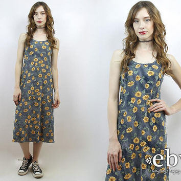 Sunflowers Dress 90s Grunge Fl Midi Soft Festival Vintage