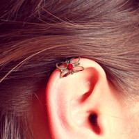 Free Shipping - Retro Vintage Lace Ear Cuff with Red Jet - Made to order :)