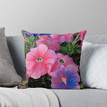 'Tropical Pink & Blue Poppies' Throw Pillow by ThatsMyStyle