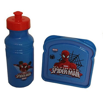 Spiderman Water Pull-top Bottle and Sandwich Container Set (Pack of 2)