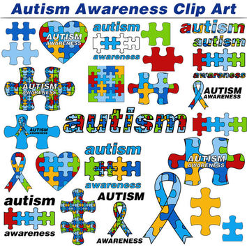 Clip Art: Autism Awareness - Proceeds to Charity -  with Jigsaw Puzzle Pieces and Autism Charity Ribbons in Blue, Red, Yellow and Green