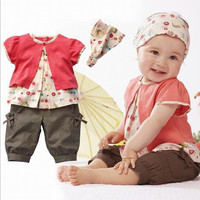 Summer Casual New Newborn Baby Girls  Clothes Short Sleeve t-shirt + Short Pants + Hat Outfit Clothes Sets Suit 3pcs