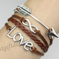 Love Bracelet, Arrow & Infinity Bracelet--Antique Silver Bracelet--Wax Cords and Leather Bracelet--Best Chosen Gift