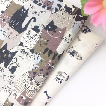 Cartoon Cat Dog Telas Patchwork 100% Cotton Fabric Diy Sewing Craft Baby Bedding Doll Clothing Home Textile Tilda Quilt Tissue