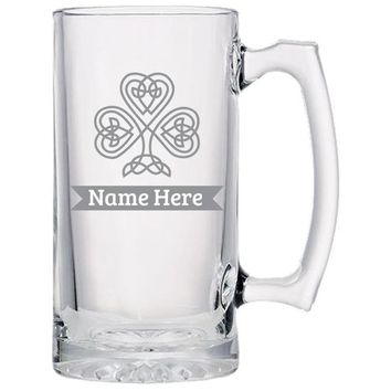 Celtic Clover Beer Mug - Personalized!, Etched Beer Glass, Gift For Dad, Beer Lover Gift, Custom Beer Glass, Gift From Wife