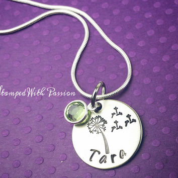Personalized Dandelion Necklace with birtstone
