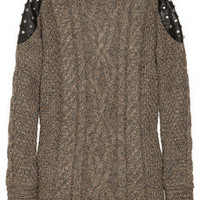 Elizabeth and James | Studded leather-paneled cable-knit sweater | NET-A-PORTER.COM