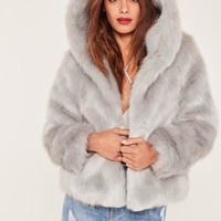 Missguided - Caroline Receveur Grey Hooded Faux Fur Coat