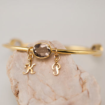 Personalized Charm Bangle - Smokey Quartz Bracelet - Gemstone Bangles - Bezel Set Bangles - Initial Charm Bracelets